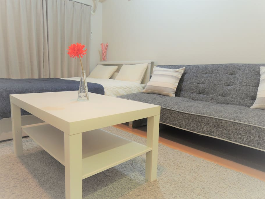 1 double sized bed and 1 wide single sized sofa bed for max 3 guests.