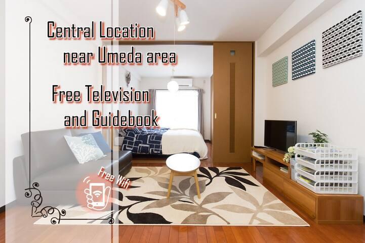 Roomy35㎡ 5minSTA Umeda Easy>city&touring Free WiFi - Kita-ku, Ōsaka-shi - Pis