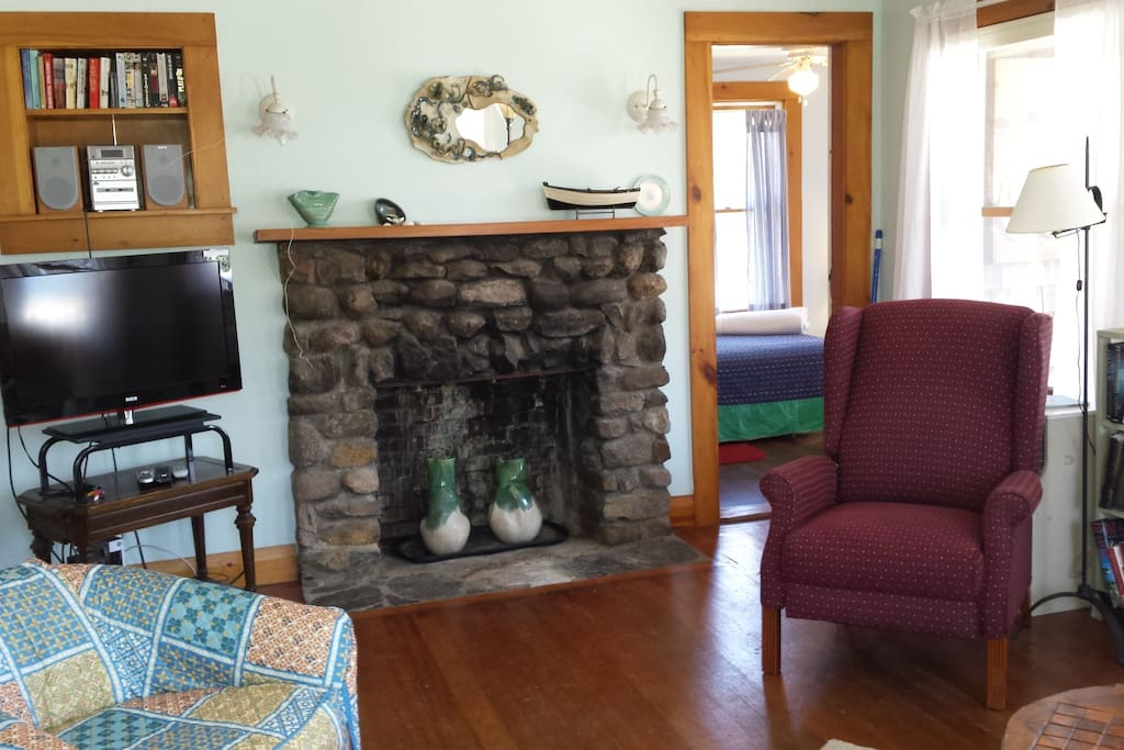 The stone fireplace adds ambiance, but may not be used.