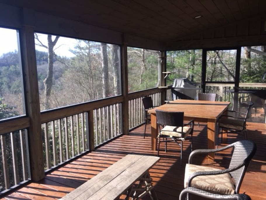 Screened in porch;4 Burner Weber Geneses Grill in distance