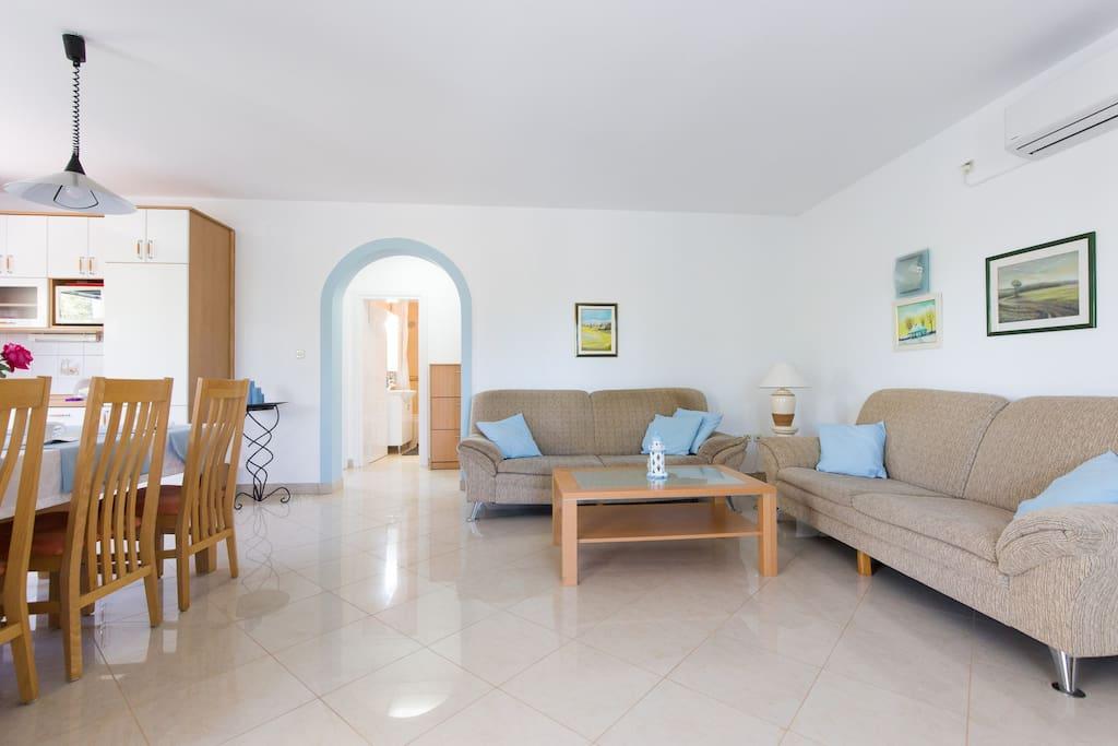 Two big sofas for a power nap. Apartments Kaja, Krk