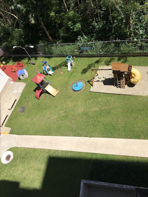 Playground and outdoor gym on the side (red area)