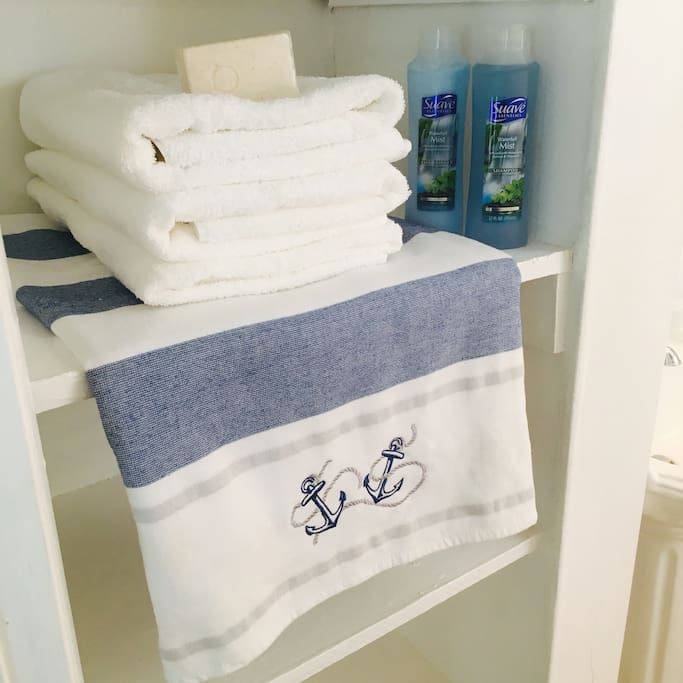 Fresh towels, sheets, packaged toothbrushes, toothpaste, shampoo, conditioner and bodywash available for you!