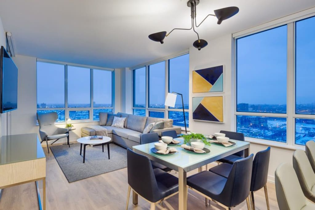 Stylish Living Room w/Private Balcony  - The Hudson