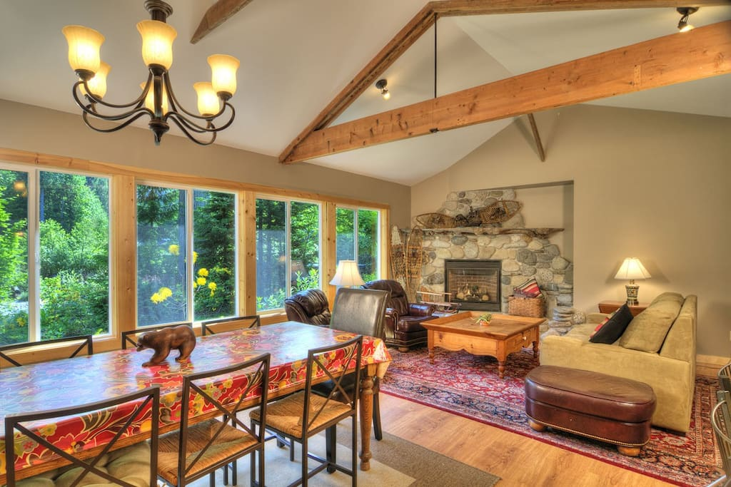 High ceilings, beautiful beams, and large windows to let in the light and the river view.
