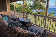 Comfortable seating on the upstairs Lanai