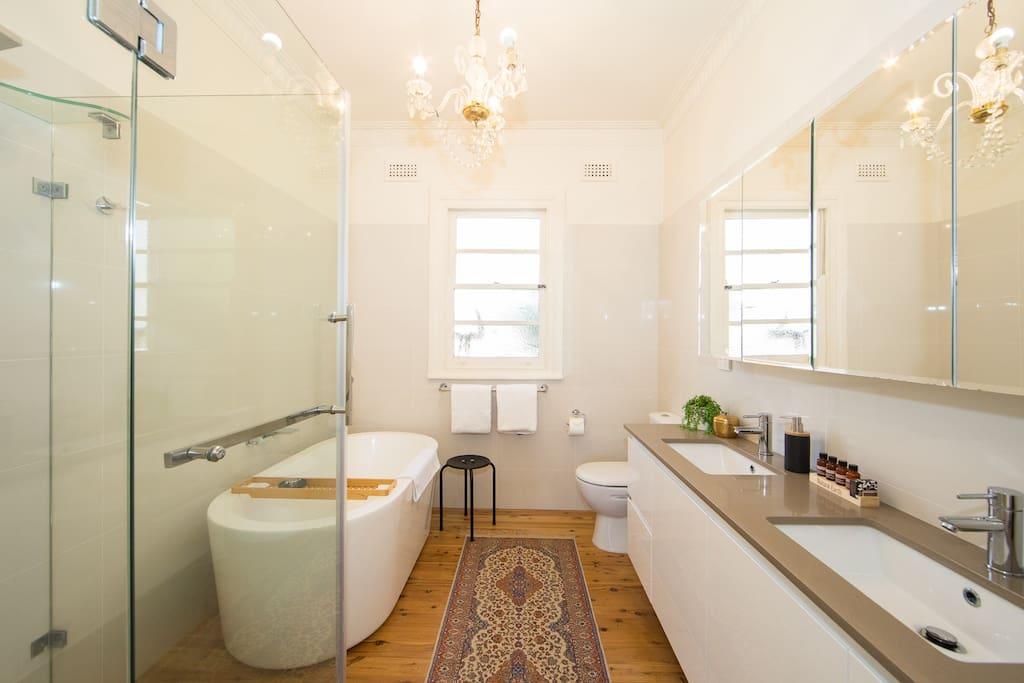 Bath shower, double vanity,