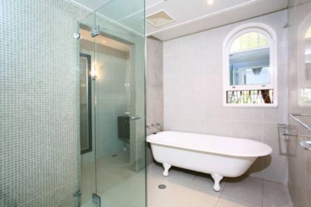 After a long day trip, you can choose between a long shower or a relaxing bath.