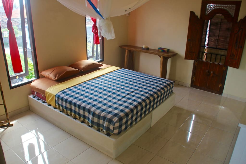 2 Single Beds with Fan, AC & Private Bathroom