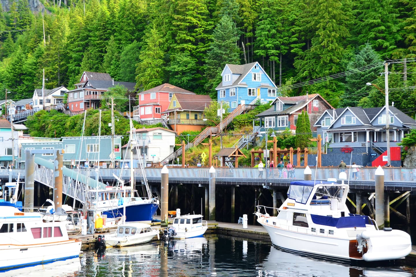 View of our historic Ketchikan home.  (Blue house with yellow door)