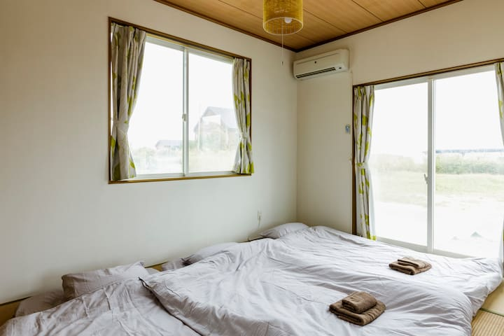 The inside of the Japanese bedroom. It is quaint and simple for a relaxing time far from the city crowds.