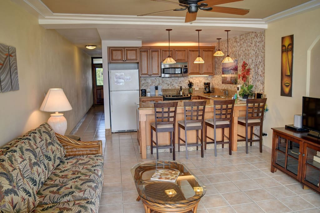 Kitchen open to living area