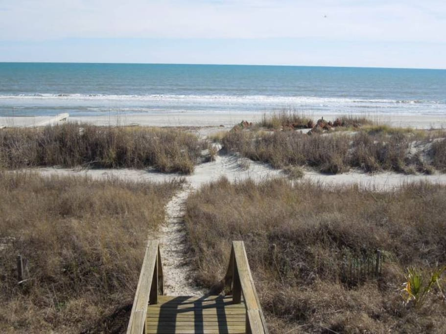 the walk can't be any shorter to the beach than spending a week in an oceanfront house. in one word: convenience!
