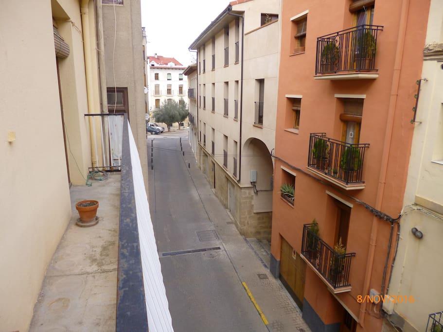 The view from the second floor veranda to Plaza Mendizibal