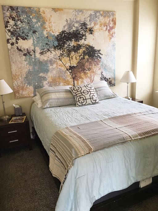 Nicely decorated queen size bedroom with dresser and closet.