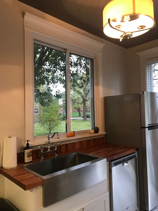 Awesome window over the farm sink makes doing dishes a Joy.  Thank you for taking care of this beautiful Space!