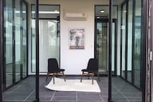 Pavilion Room - open the sliding doors to the great garden outdoor. Air-conditioned