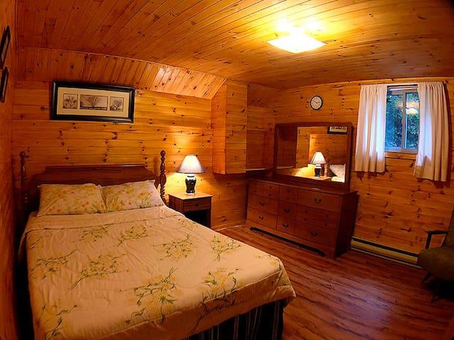 Master bedroom with queen bed, dresser, mirror