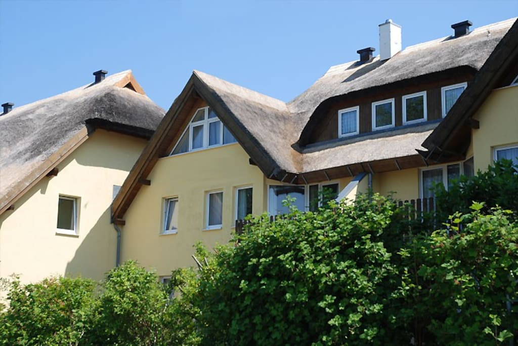 Die Hausansicht des Strandhaus Lobbe.