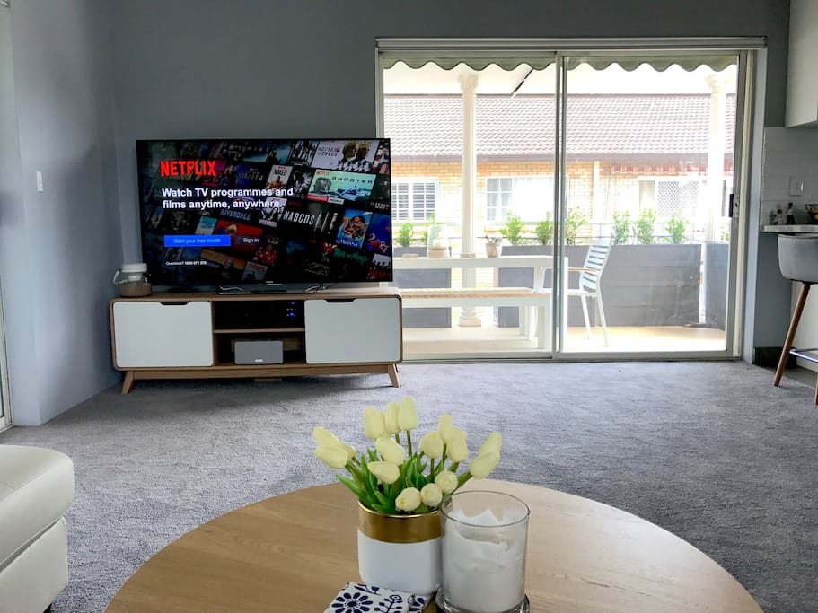 "Our home is ""smart"" and is ready for the tech enthusiast. With a 65"" HD TV, Netflix, and super-fast unlimited fibre internet with guaranteed 50Mbps download speeds, you'll have everything you need."