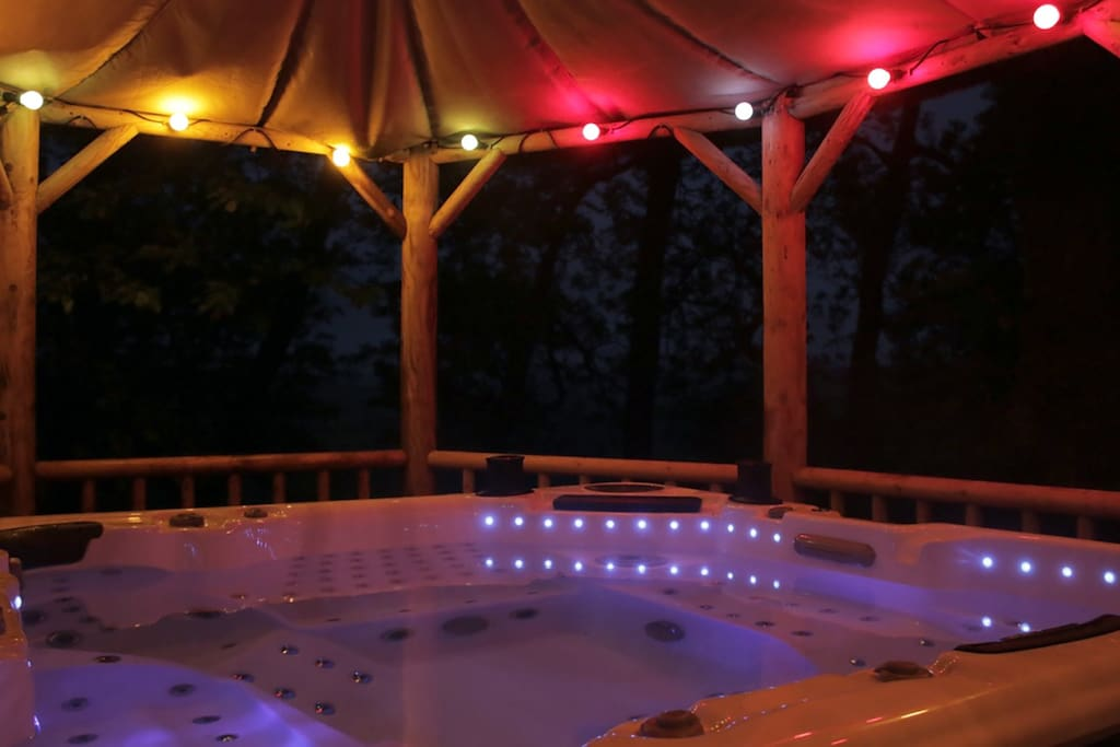 The hot tub at night time