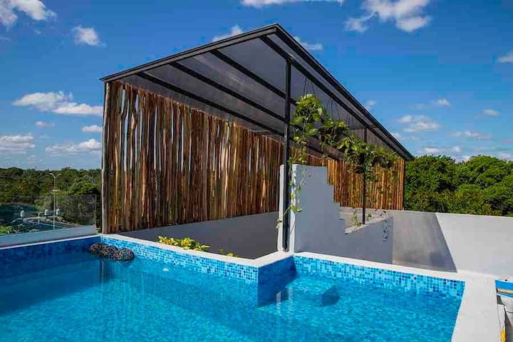 Nice apartment w/ rooftop & pool in Tulum's nature