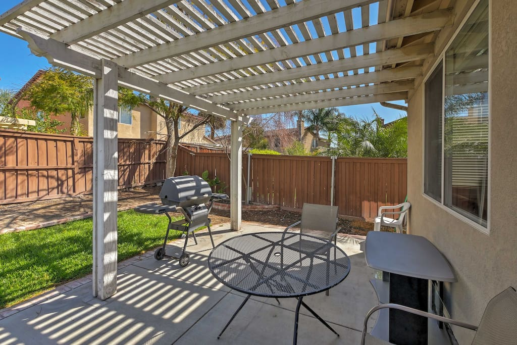 This 4-bed, 2-bath home sleeps 8 and features a landscaped yard.