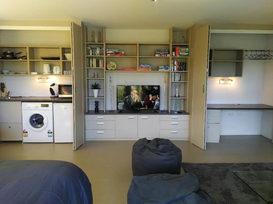 Kitchen, TV, wardrobe and desk