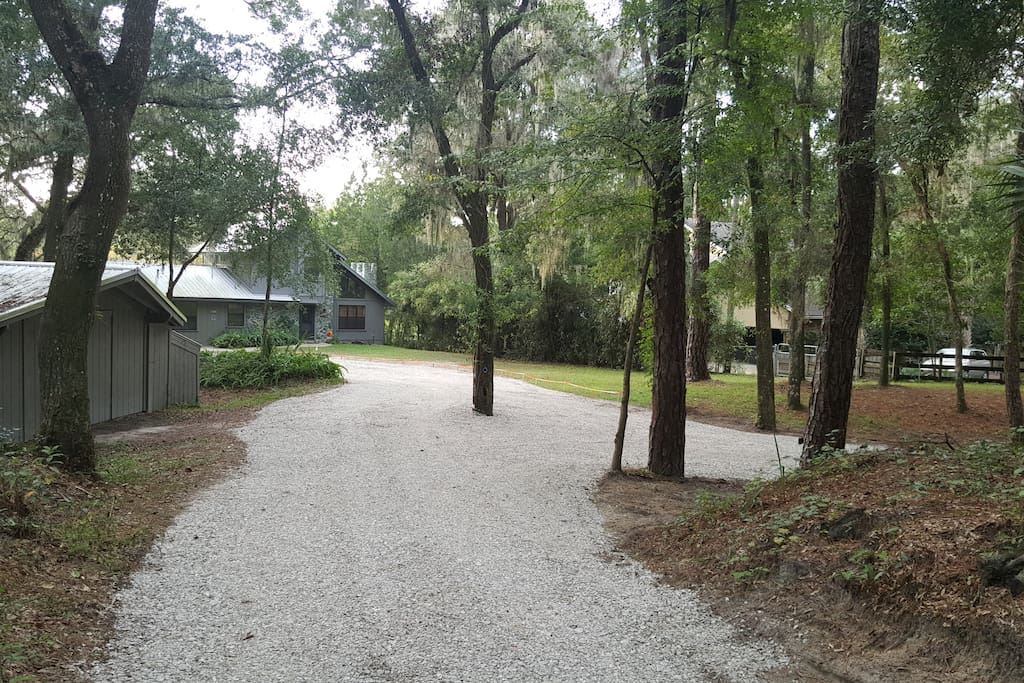 Winding driveway into pristine tranquility.