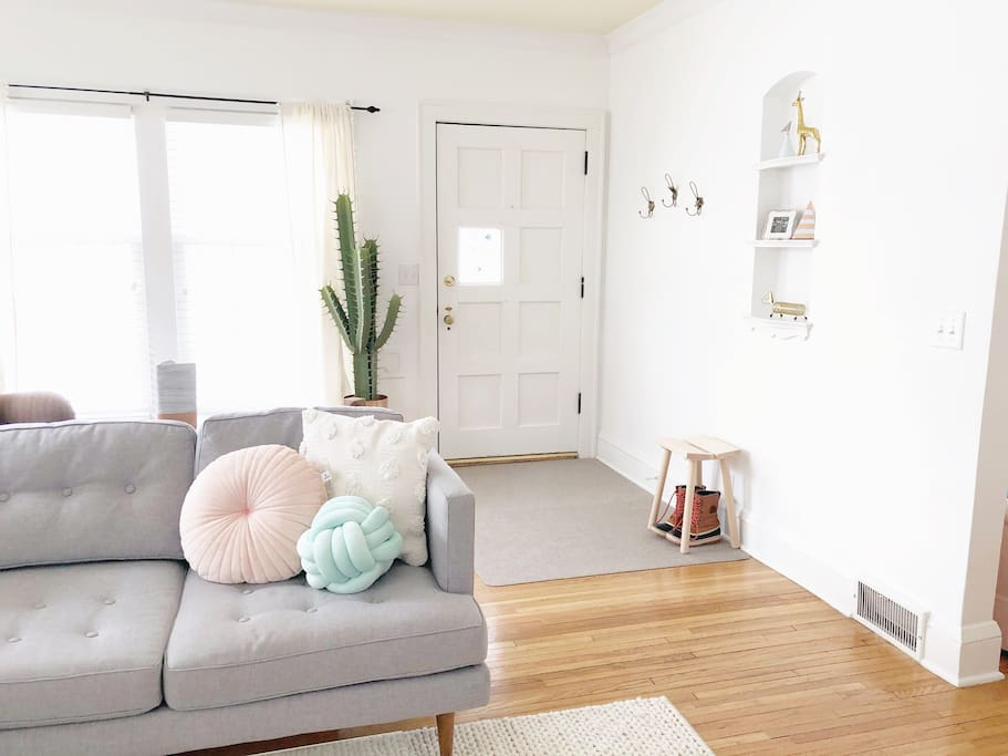 Comfortable couch and lots of natural light!