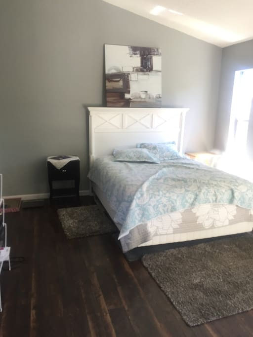 1 large room and 1 queen bed