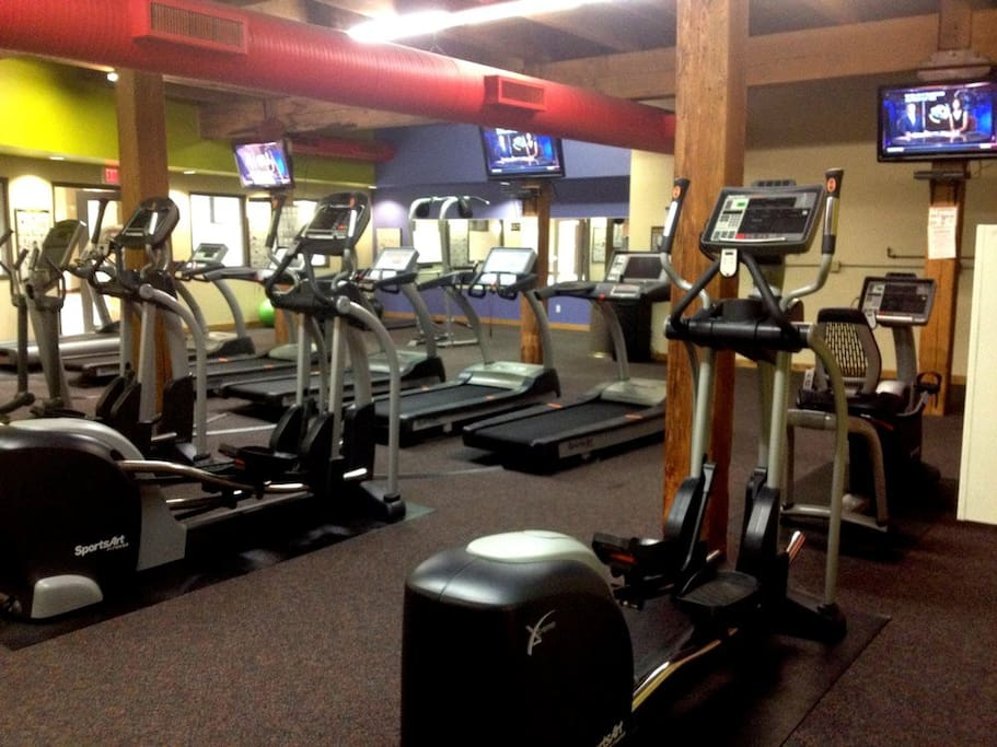 Three story gym. Cardio, weights & yoga