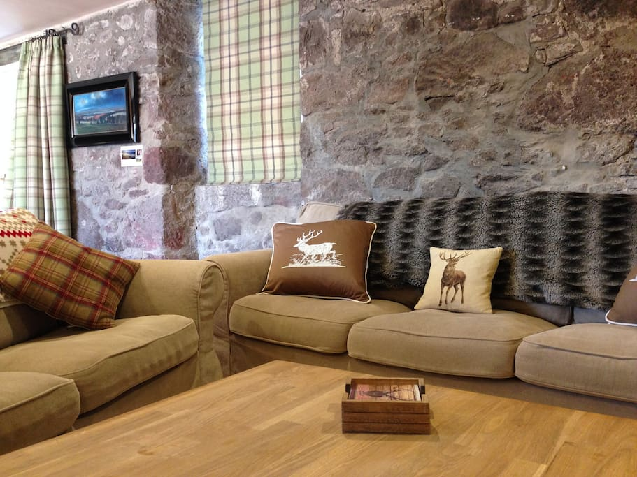 Cosy open plan living area in Buzzard cottage. Perfect to enjoy some music or a film around the fire.