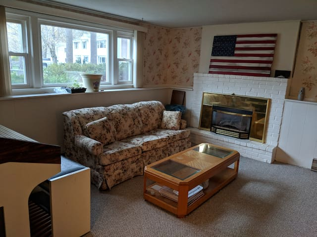 Separate living room with fireplace