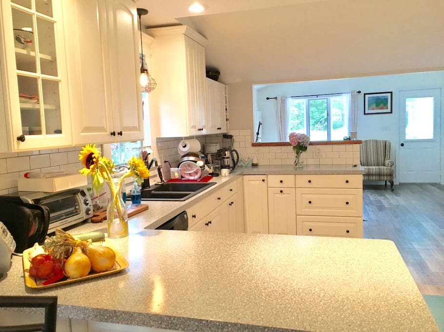 Beautiful, brand-new eat-in kitchen has updated appliances and is fully equipped with dishes for your use.