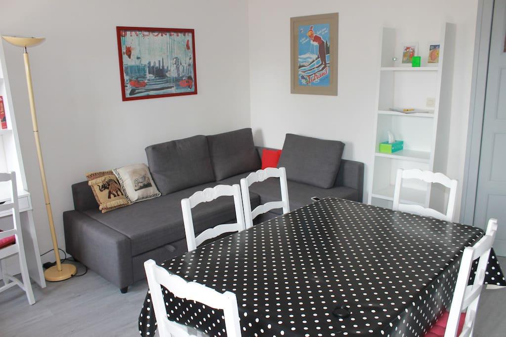Le salon séjour avec banquette lit (2 places)