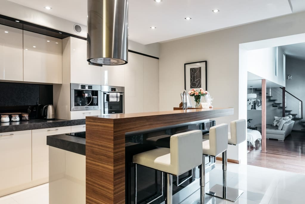 Kitchen with a bar space