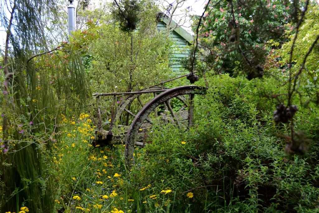 Old horse drawn cart in the garden