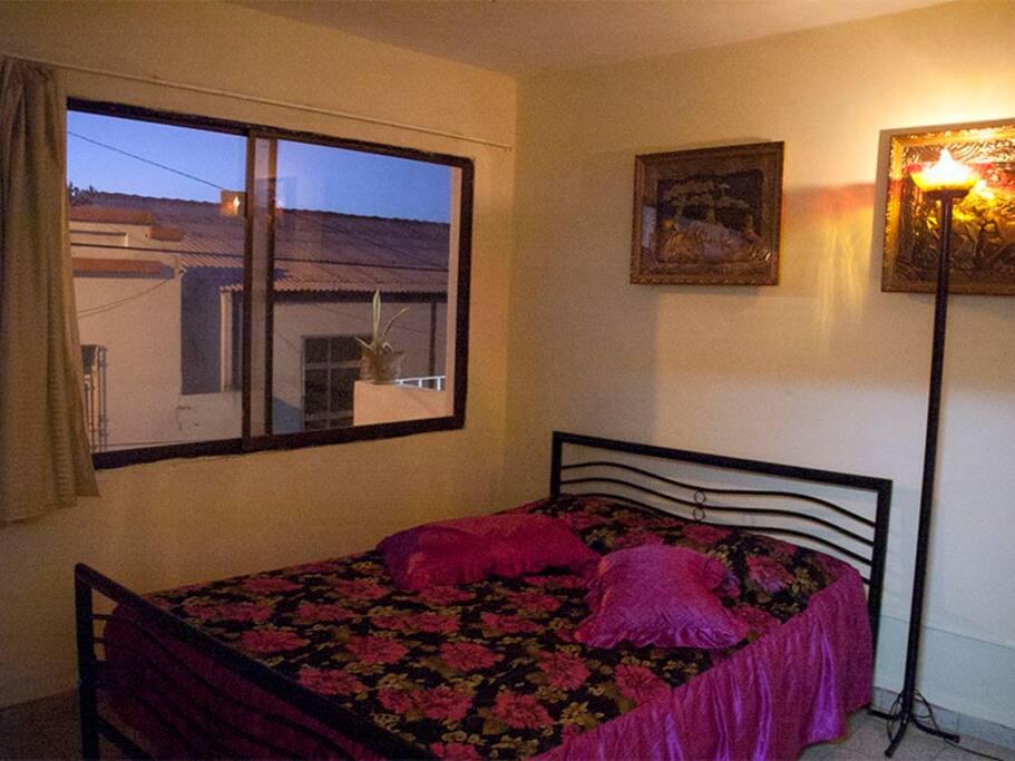 Habitacion climatizada con cama camera, agua caliente, minivar, vista a la calle, etc.