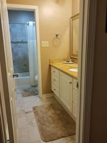 Clean updated bathroom.