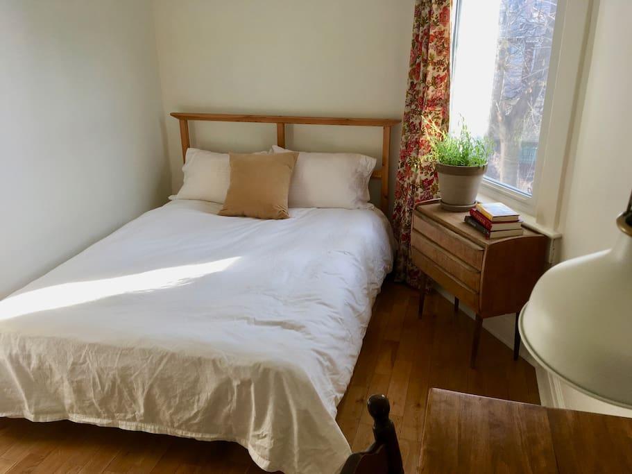 "Double Bed. ""Sultan"" Ikea futon-style mattress. Down Duvet. Cotton Sheets."