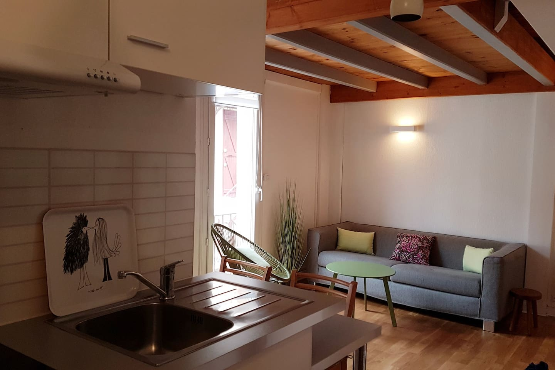 Un lieu de vie cosy et lumineux. Un salon-cuisine pratique pour se reposer, travailler et cuisiner.