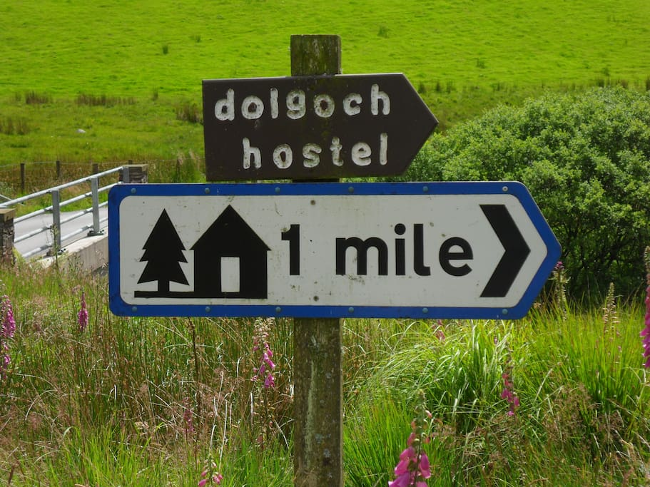 Hostel is a mile down well made up track off drovers' road between Tregaron and Llanwrtyd Wells.