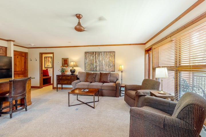 Ski-in/out, mountain view condo w/ fireplace, fast WiFi & shared hot tub/pool/WD