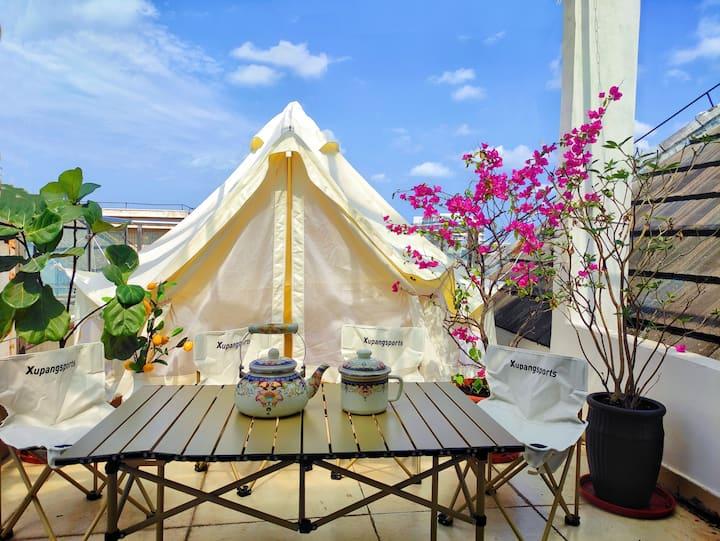 【仲夏之夜 可月租】户外帐篷|特色尖顶阁楼|私人天台大露台|浴缸可泡澡