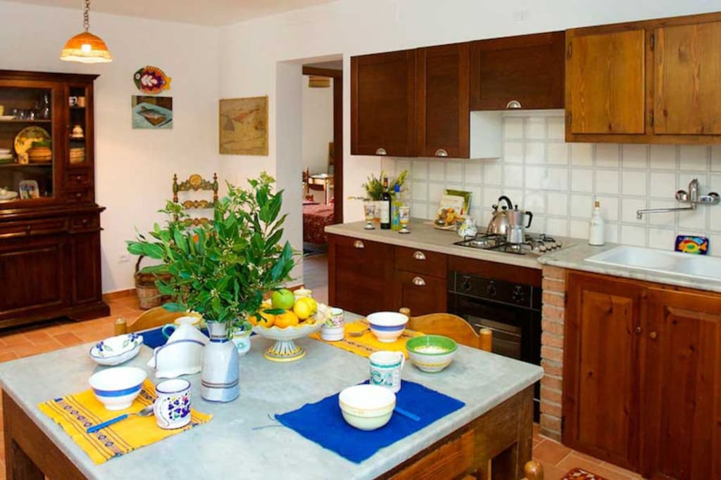 The kitchen is the largest room in the apartment. Fully equipped with gas cookers, oven, fridge, microwave.