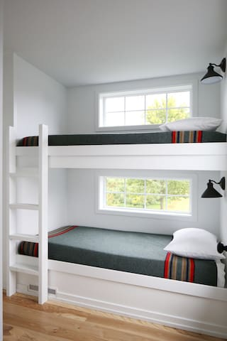 Bunk room w/ views of the orchard