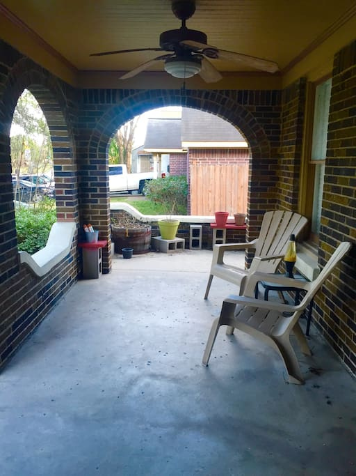 Great porch to enjoy the company of friends and family, maybe a glass of wine.