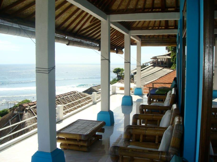 private balcony overlooks world class surf.