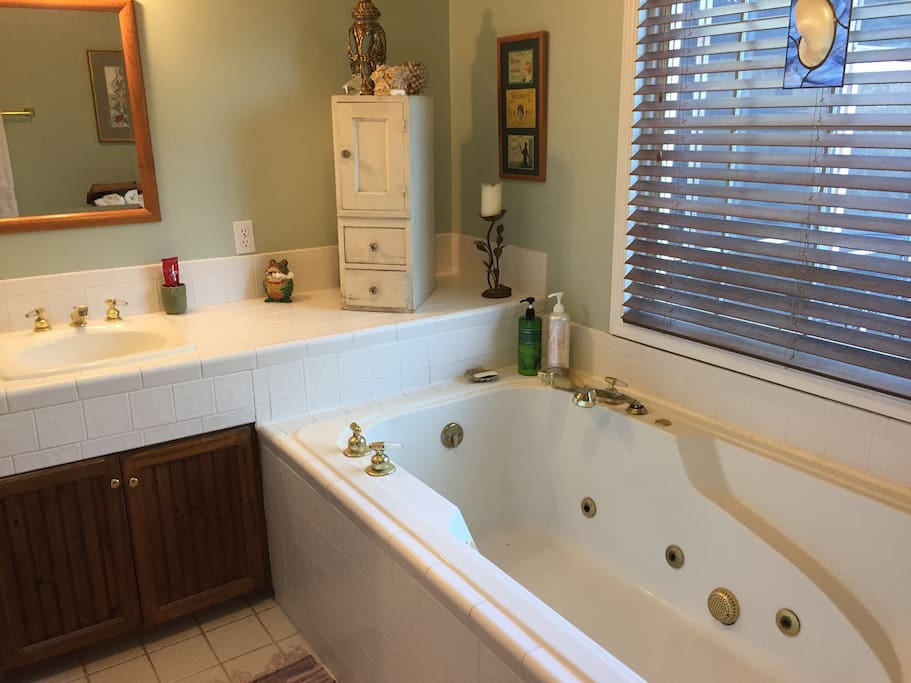 Private bath is fully stocked.  Full shower available in shared guest bath.